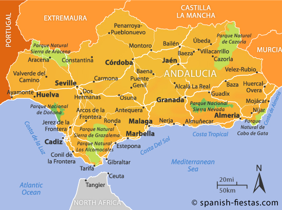 Detailed Map Of Southern Spain.Andalucia Travel Guide
