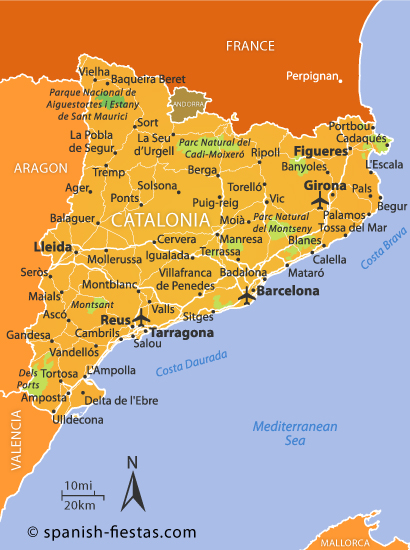Catalan Map Of Spain.Catalonia Travel Guide Spanish Fiestas