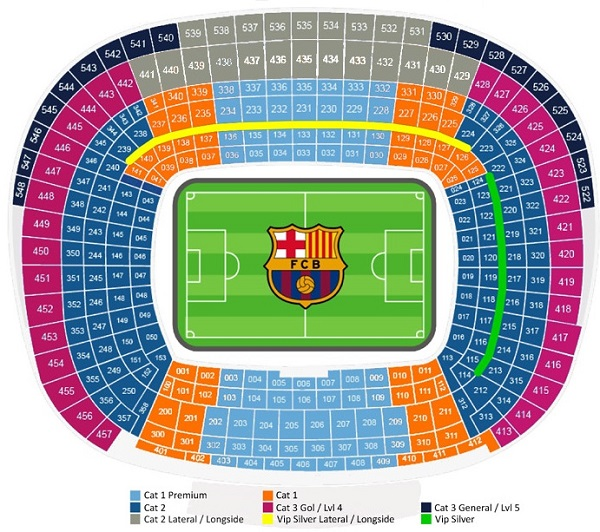 Seating Map for FC Barcelona Football Tickets in the Nou Camp Stadium