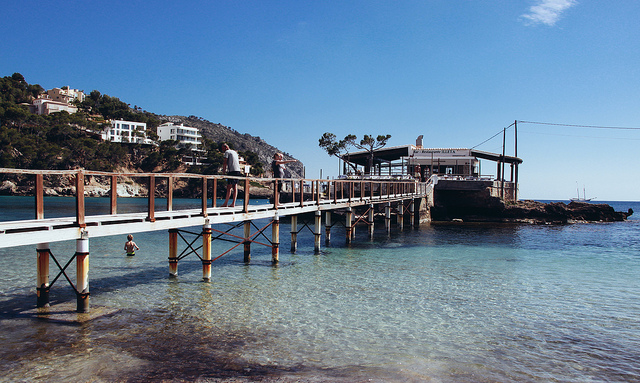 Wooden bridge from the beach