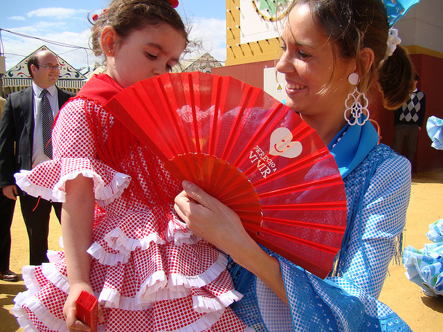 Mother Fanning Her Daughter at La Feria de Abril