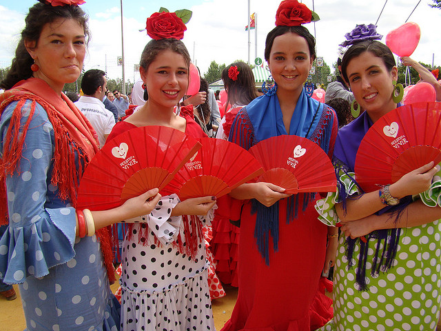 Group of Girls in Flamenco Dress at La Feria de Abril