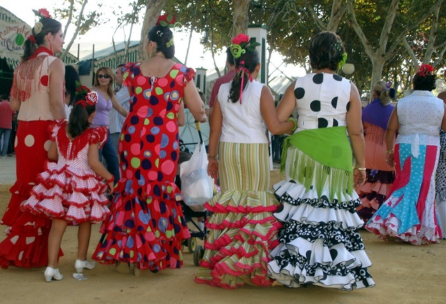 Spanish Women in Flamenco Dress at La Feria de Abril