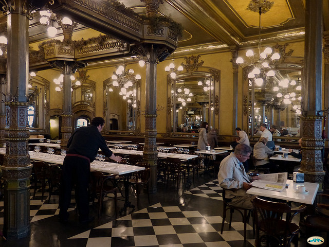 Inside the Historic Café Iruña
