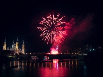 Fireworks at the End of El Pilar Fiestas in Zaragoza