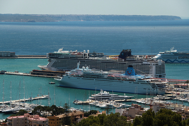 Palma Cruise Terminal from Bellver Castle