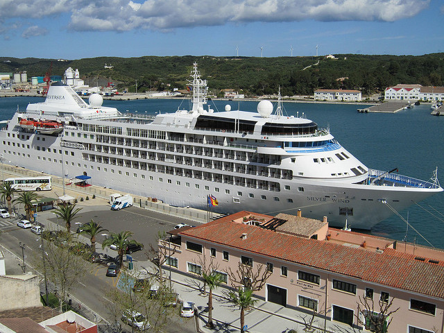 Cruise Ship Docked in Mahón Port